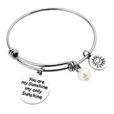 Silver Quote Bracelet Word Bangle Stainless Steel YOU ARE MY SUNSHINE