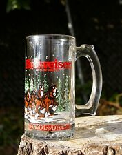 Budweiser Clydesdales King of Beers Mug Clear Drinking Glass Stein Cup Snow 1989