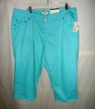 NWT $25 CATO Turquoise Stretch Cotton Capris Pants Woman Plus Size 22 W