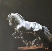 Nicolae Original Horse art oil painting Friesian black stretched canvas