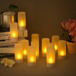 Rechargeable Led Flickering Flameless Candle Tealight Light With Frosted Cup