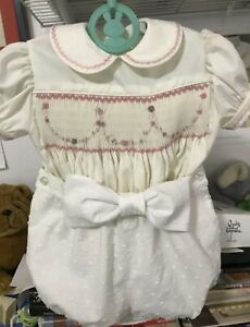 Hand Smocked Baby Girls Romper Suit Age 3 Months
