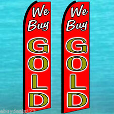 2 WE BUY GOLD FLUTTER FEATHER FLAGS Vertical Advertising Sign Bow Banner Swooper