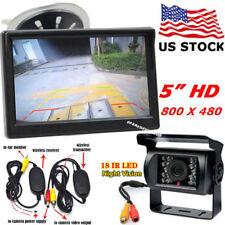 "RV Bus Truck Wireless IR Rear View Waterproof Backup Camera +5"" HD LCD Monitor"