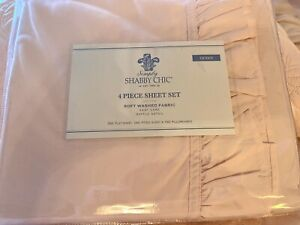 SIMPLY SHABBY CHIC PINK RUFFLE COMPLETE SHEET SET QUEEN BRAND NEW POLYESTER