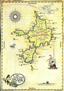 THE ISLAND OF SARK, CHANNEL ISLANDS (COLOUR PRINTED MAP POSTCARD)