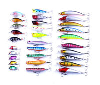 30pcs/set Mixed Fishing Lure Minnow Popper Lures Hard Bait Crankbait Bass Tackle