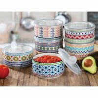 Signature Housewares 6-piece Stoneware Storage Bowls With Lids (Microwavable)
