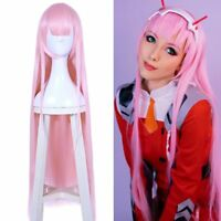 Darling in the Franxx ZERO TWO CODE:002 Long Pink Cosplay Party Hair Wigs US