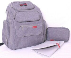 Bag Nation Heathered Gray Backpack Baby Diaper Bag w/ Changing Pad & Small Tote
