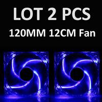 2 PCS 4-LED COOL & QUIET 120MM NEON BLUE LED MOLEX PC COMPUTER CASE COOLING FAN