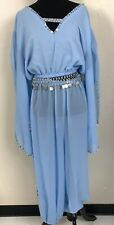 BABY BLUE SHEER BELLY DANCE 4 PIECE COSTUME TOP SKIRT PANTS BELT SIZE SMALL