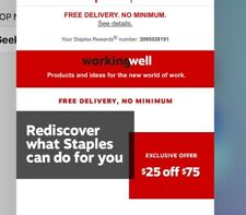 STAPLES COUPON $25 off $75 Online Only Expires 10/31/20