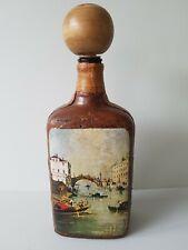 Vintage  Decanter Leather covered Drinks Bottle Wooden Stopper  Venice Scene