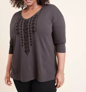 NEW RYLLACE EMBROIDERED ORGANIC COTTON KNIT TOP PLUS 1X NWT