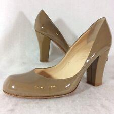 Joan & David Patent Leather Chunky Heel Pumps Size 6.5M Taupe Khaki