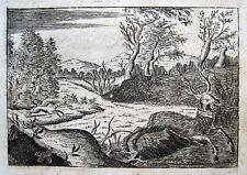 """HIRSCH BEI PARIS CERF FORÊT DE SENLIS CHARLES VI 1699 """"HOC CAESAR ME DONAVIT"""""""