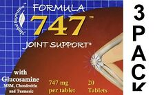 3X 747 JOINT SUPPORT GLUCOSAMINE CHONDROITIN MSM TURMERIC 60 TABLETS FREE SHIP