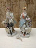 "2 ANTIQUE HANDPAINTED PORCELAIN FIGURES LADY & GENT WITH SHEEP 10"" BOTH A/F"