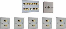 5.1 Black Nickel Surround Sound Speaker Wall Plate Kit - Gold Binding Posts