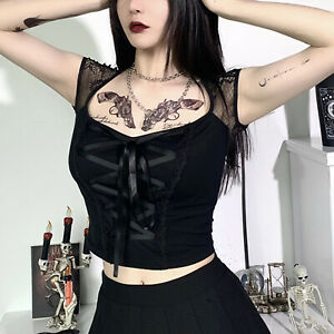 Women Sexy Gothic Punk Square Neck Short Sleeve Lace-up Tank Crop Top Shirt