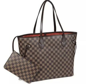 Purely Radiant Checkered Tote Bag Leather Shoulder Strap With Inner Pouch
