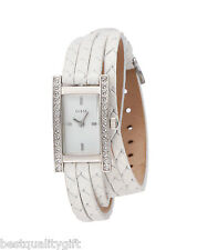 NEW-GUESS WHITE WOVEN LEATHER+SILVER TONE+CRYSTAL WRAP AROUND WATCH U71001L4+TAG