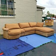 A luxurious CUSTOM Ralph Lauren upholstered and leather trimmed large sectional