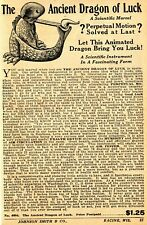 1933 small Print Ad of The Ancient Dragon of Luck perpetual motion solved?
