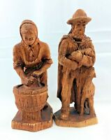 Vintage SIC France Shepard & Laundress Wood Carved Figurines - FREE SHIPPING