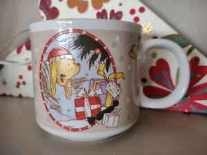 DISNEY CLASSIC WINNIE THE POOH CHARPENTE CHRISTMAS SMALL MUG CUP VINTAGE