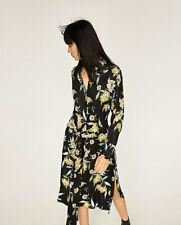 New Zara Black Yellow Floral Printed Belted Tunic Long Shirt Dress Small