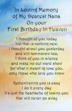 Waterproof Graveside Card Nan  Gran Dad first birthday memorial Keepsake G02