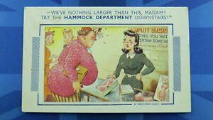 Saucy Bamforth Comic Postcard 1940s Big Boobs Bust Uplift Bra HAMMOCK DEPARTMENT