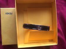 100% Authentic FENDI , Black Leather Bangle Silver with box.