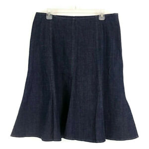 Courtenay Womens Plus sz 14W Skirt Blue Denim Dark Wash Flare Knee Length Zip Up