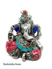 Lovely Ganesh Elephant Hindu God metal statue Turquoise Coral Stone work Ganesha