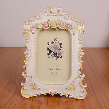"desktop floral photo frame,shabby chic style picture frame,white color,4""x6"""