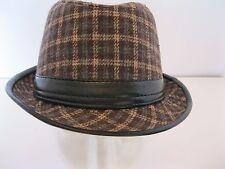 0b04fb0c874 MEN S WESTEND GRAY BROWN BEIGE PLAID COTTON FEDORA HAT (L-XL)
