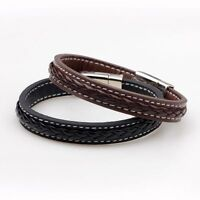 Leather Stainless Steel Magnetic Buckle Bangle Wristband Jewelry Bracelet