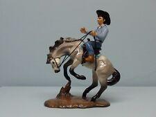 Retired Hagen Renaker Horse Cowboy on Bucking Bronco Blue Shirt