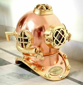 Vintage Brass Finish Collectible Diving Helmet US Navy Mark V Boston Deep Sea