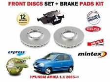 FOR HYUNDAI AMICA 1.1i 6/2005-> NEW FRONT VENTED BRAKE DISCS SET + DISC PADS KIT