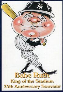 """BABE RUTH Yankee Stadium 75th Anniversary Postcard (1998) 3 1/2"""" x 5"""" SGA LQQK!"""