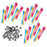 100pcs Rubber Dart Tip Gaskets O-Rings Washers + 36pcs Darts Shafts Colorful