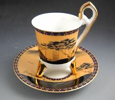 H. Ito Hishisei Made in Japan Porcelain Gold and Black Footed Demitasse Tea Cup