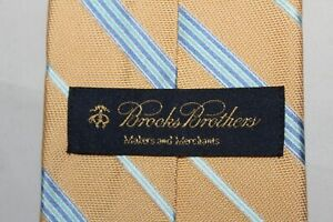 NWT $79 BROOKS BROTHERS 100% Silk Tie Yellow with Blues Stripes