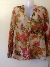ZARA WOMAN Sheer Stunning Floral Blouse Top Size XL Cotton Silk Mix Free Post B1