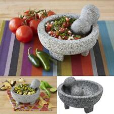 "Granite Molcajete Spice Grinder 6'"" Mortar Pestle Cookware Kitchen Bowl Chef New"