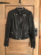 Zara 100% Real Leather Black Kendall's Biker Jacket Size L 8-10